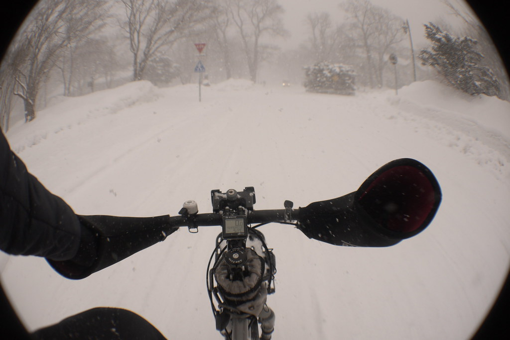 Winter cycle commute in Sapporo, Japan