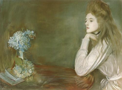"""Paul-César Helleu (French, 1859-1927), """"La lionne aux hortensias bleus"""""""