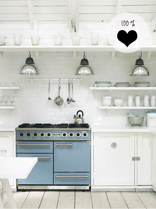 Today I?m loving ? this white kitchen with a light blue stove