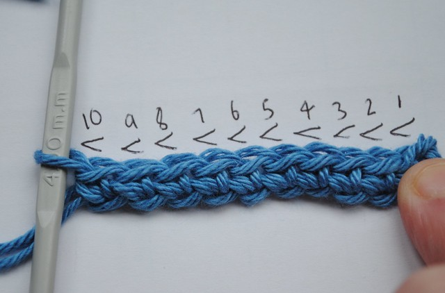 20. Row 1 (making a row of SC into the chain)