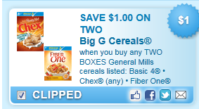 When You Buy Any Two Boxes General Mills Cereals Listed: Basic 4 \u2022 Chex (any) \u2022 Fiber One (any) \u2022... Coupon
