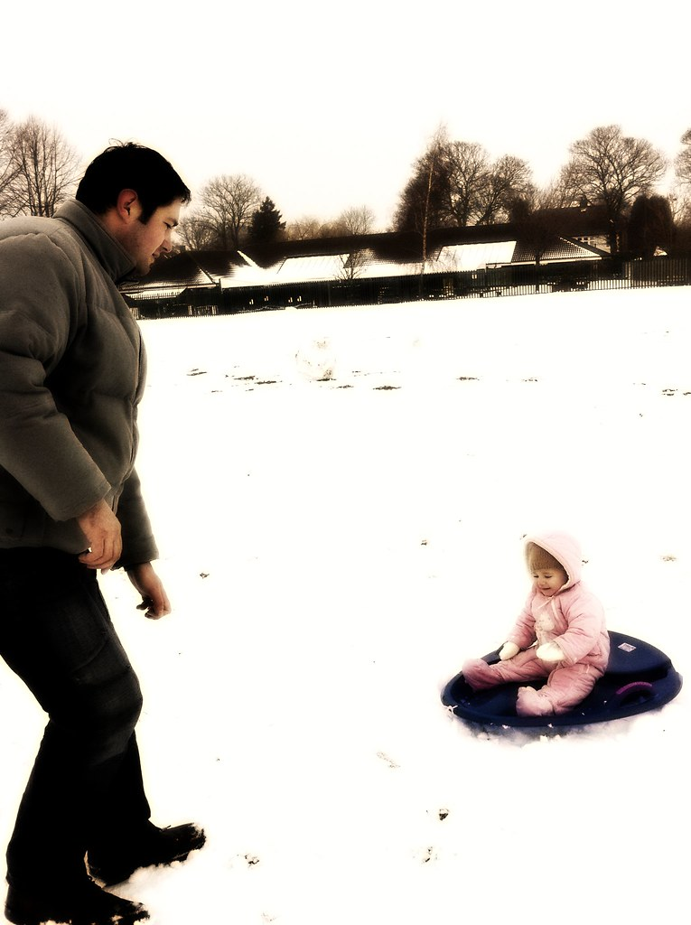 Nola and daddy in the snow