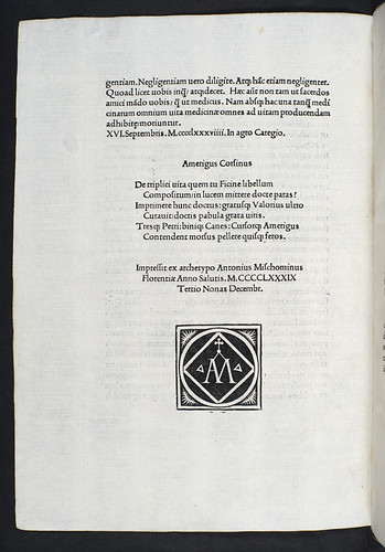 Colophon and printer's device in Ficinus, Marsilius: De vita libri tres (De triplici vita)