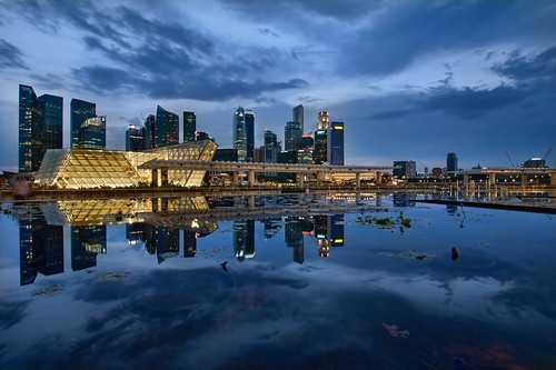 Singapore City Skyline from Marina Bay at Blue Hour - HDR
