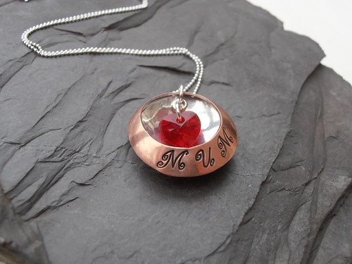Mum heart stamped pendant by greensladejenny