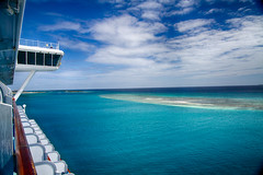 Cruise ship and Aruba ocean view