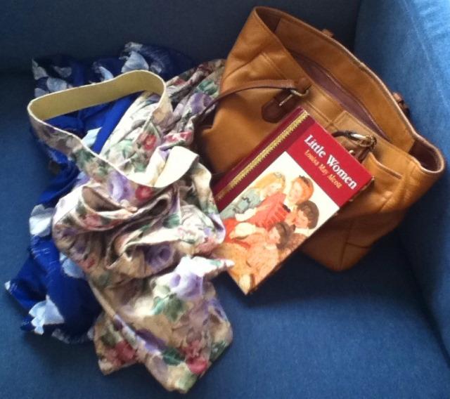 jumbled dresses, Little Women, tan Coach purse
