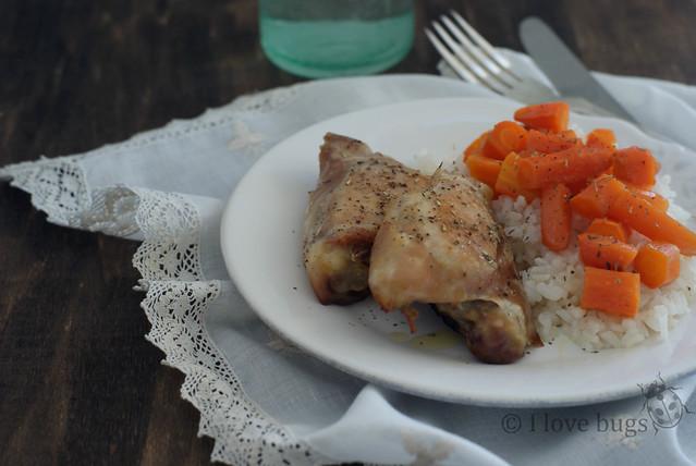 pollo con zanahorias asadas al limón