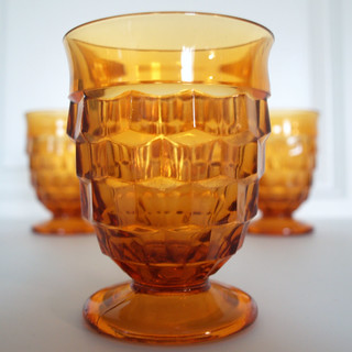 4 VINTAGE AMBER GLASS Tumblers - Small Footed Goblet - Fostoria Whitehall - Formal Drinking Glasses - Mid Century Table & Barware
