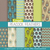 "Peacock digital paper: ""PEACOCK FEATHERS"" with green and blue peacock feathers, polkadots, chevrons and feathers for scrapbooking, cards by workyourart"