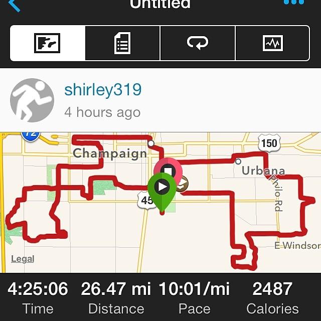 Completed marathon! #shirleyruns  #illinoismarathon