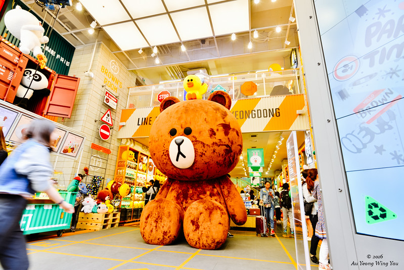 Streets Of Myeong-Dong 2016: Line Store With Giant Brown