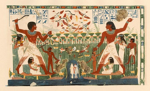 018-Nakht y su familia cazando aves- The tomb of Nakht at Thebes  1917- Norman de Garis Davies- © Universitätsbibliothek Heidelberg