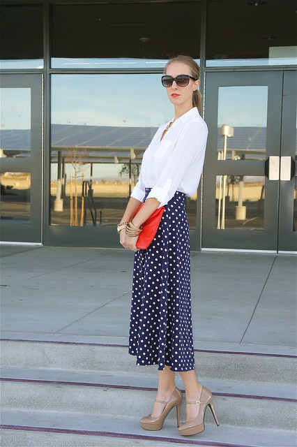 Blue polka dot skirt with blouse