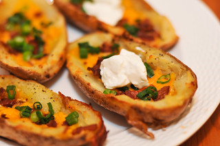 Crispy Potato Skins with Bacon and Cheddar