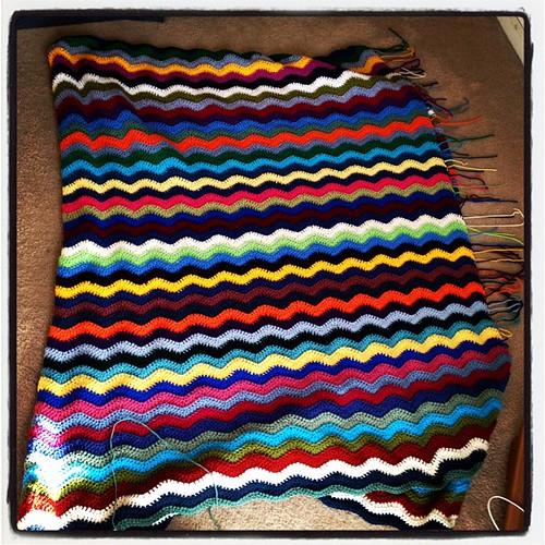 Josh's blanket = halfway done!
