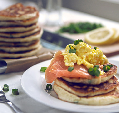 Blinis With Scrambled Eggs And Smoked Salmon