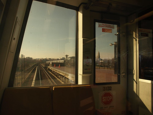 Looking out of a Metro rear car