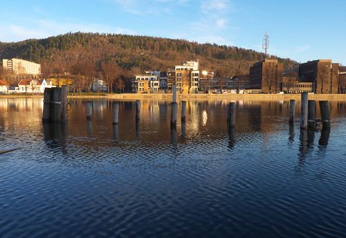 morning norway sunrise reflections river drammen