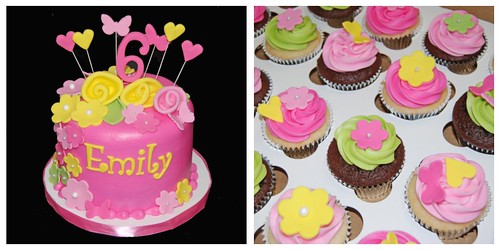 Pink yellow and green 6th birthday cupcake tower