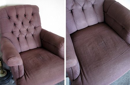 Purple arm chair in need of some love