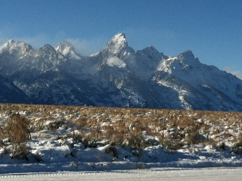 Awesome View of Tetons while on Winter Bike Tour !