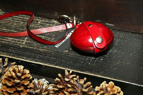 Julegavetips - miniveske i dyp rød skinn