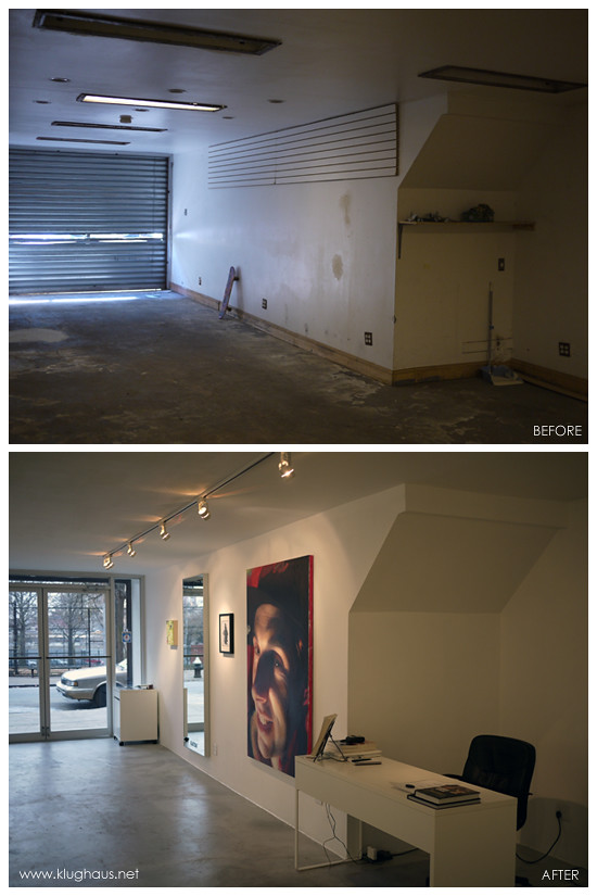 Before and After - Klughaus Gallery Front Desk