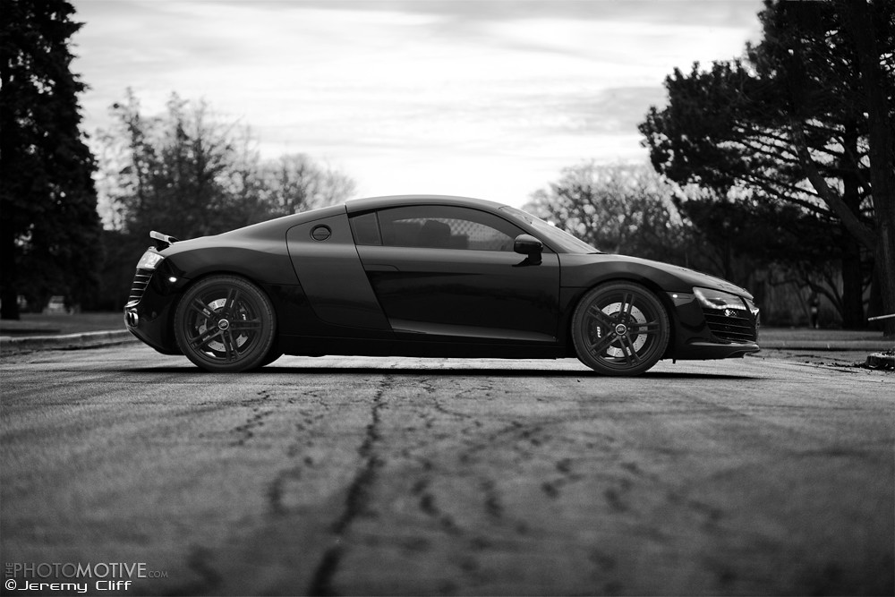 blacked out audi r8 b w photo set. Black Bedroom Furniture Sets. Home Design Ideas