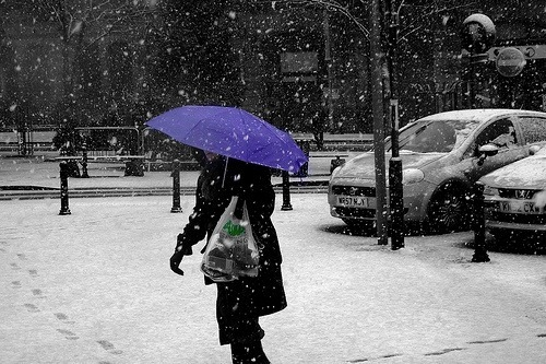 Tunstall tower square. Colour Splash of lady in the snow