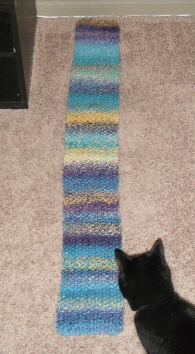 seed stitch scarf.  yarn spun fractally
