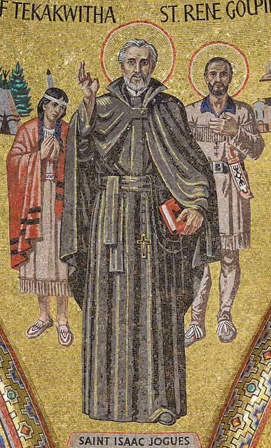 Cathedral Basilica of Saint Louis, mosaic of Saint Isaac Jogues, Blessed Kateri Tekakwitha, and Saint René Goupil