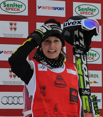 Kelsey Serwa on top of the podim for the second time in two days in Innichen/San Candido, Italy.