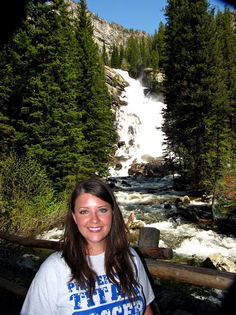 Karen in front of Hidden Falls