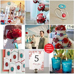aqua & red wedding theme