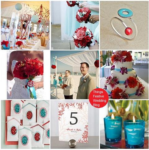 aqua and red beach wedding theme