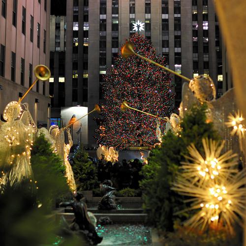 Rockefeller Center Christmas Tree by night