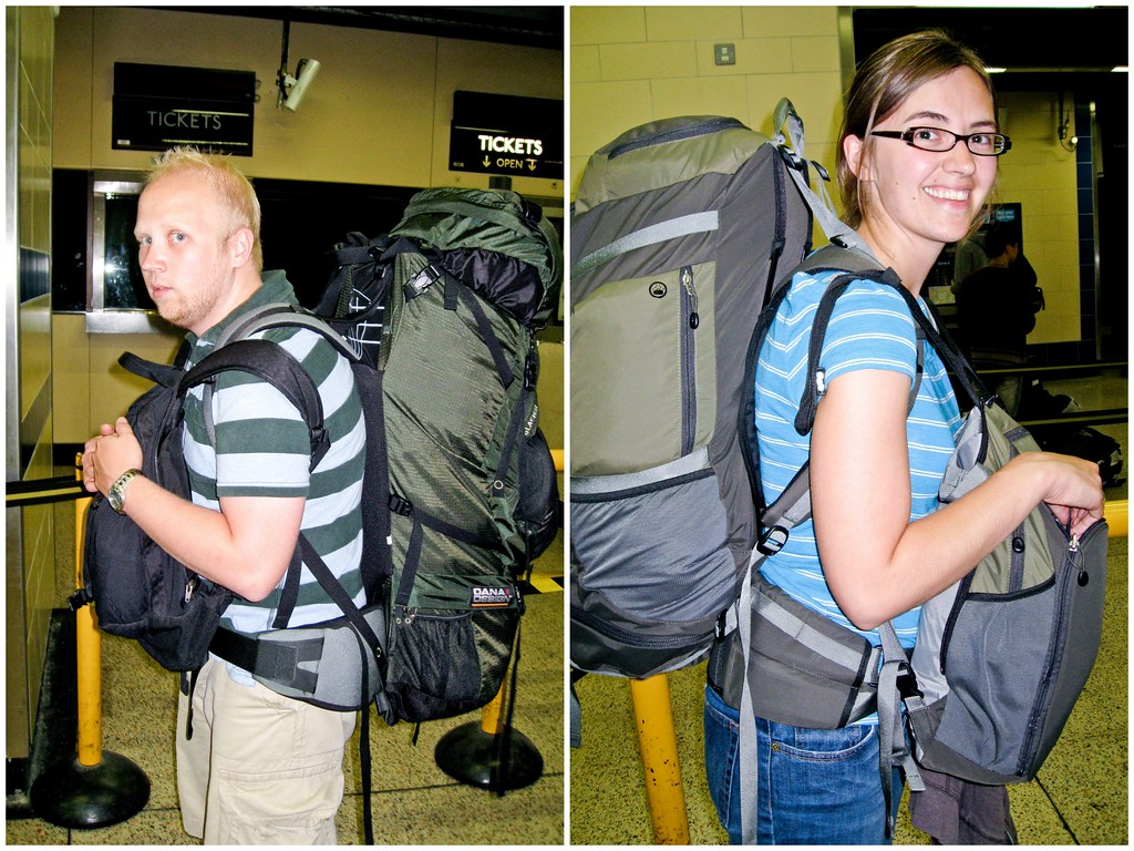 Sara and Patrick with backpacks