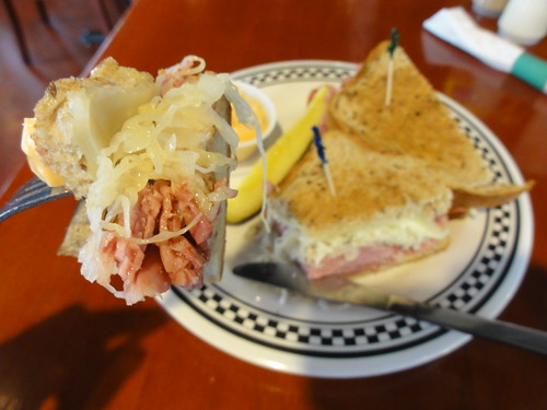 A Rueben is the type of sandwich you eat with a fork
