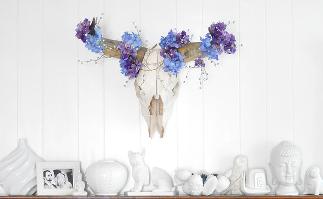 cow skull with flowers-mantels-mantel decorating ideas-white porcelain