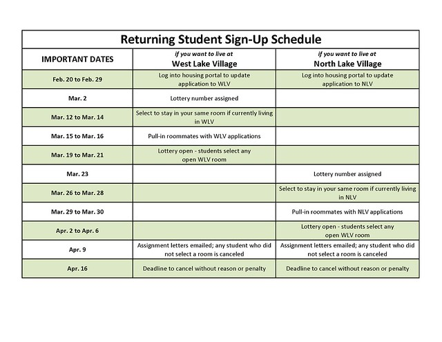 Returning Student Sign-Up Calendar 2012