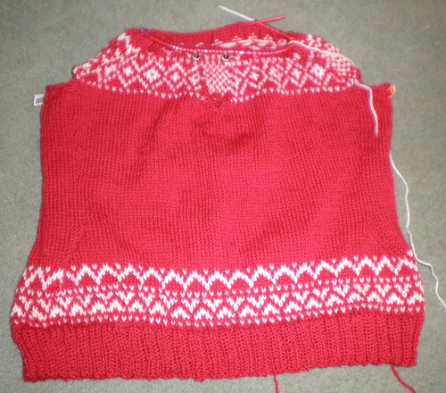 Red and white fairisle in progress