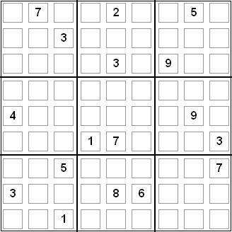 Sudoku con 17 casillas rellenas