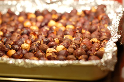 Toasting the hazelnuts by Eve Fox, Garden of Eating blog, copyright 2012