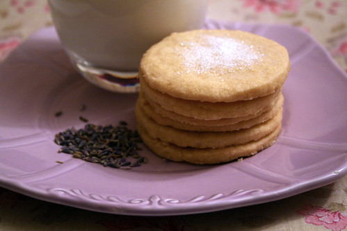 Lavender Milk and Vanilla Biscuits on Plate