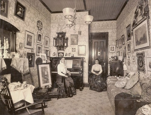 Vintage Interior With Two Women, Possibly Twins by dlundbech