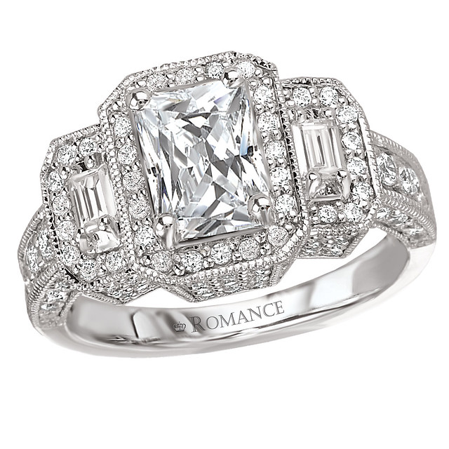 Vintage Rectangular Diamond Engagement Ring Rectangular Ha…