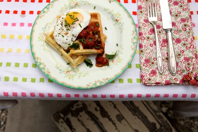 Savory Cornmeal and Chive Waffles with salsa and eggs | Joy the Baker