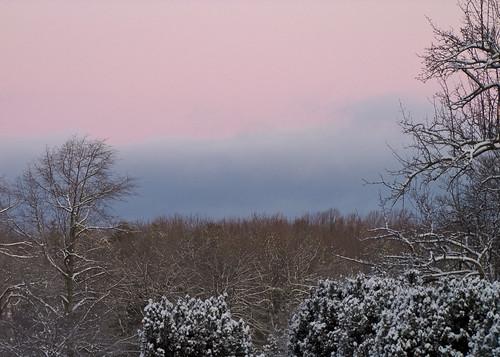 ohio cleveland kirtland holdenarboretum lookingnw lanterncourt gatehouseview pinksunriseskyabovelakeerie wintermorningpastels