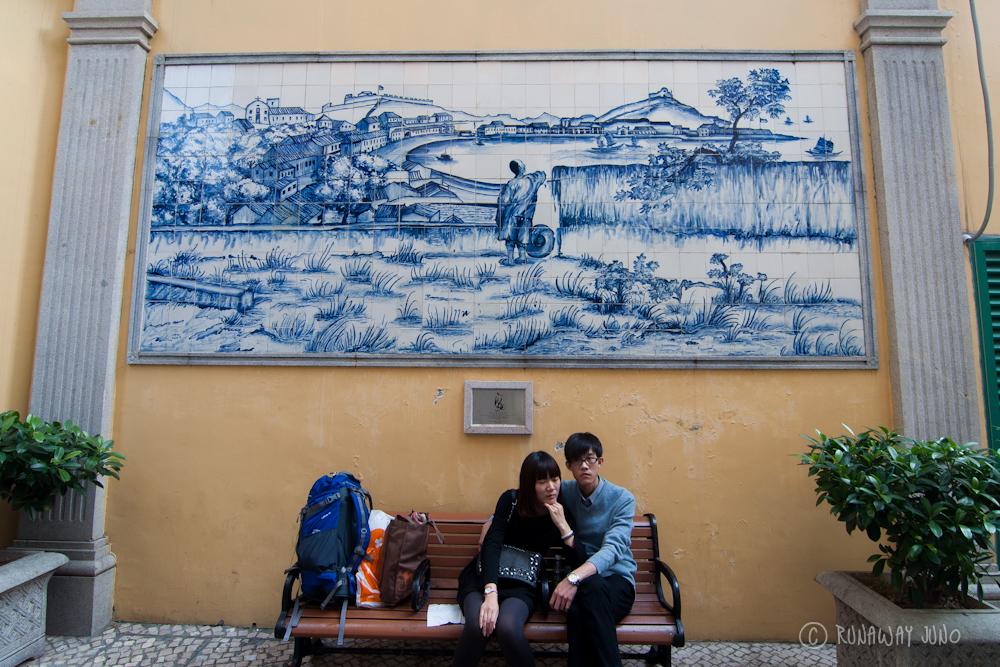 Blue tile art in Macau